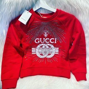 Gucci kids red cotton sweatshirt w/crystals